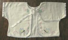 True Vtg Baby Yellow Flannel Kimono Jacket Hand Embroidered Butterfly Flowers