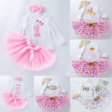 Baby Girls 1st Birthday Skirt Outfits Clothes Party Long Sleeve Romper Tops Tutu