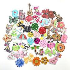 50x Wood Button Mixed Animals Flower Flat Scrapbooking DIY Sewing Wooden Buttons
