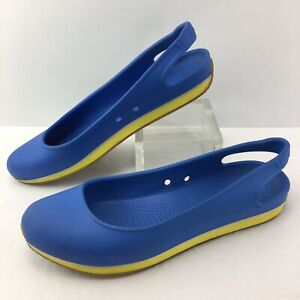 CROCS Retro Slingback Molded Ballet Flats Women 9 Blue & Yellow
