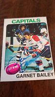 1975-76 OPC SIGNED CARD GARNET ACE BAILEY CAPITALS BRUINS BLUES RED WINGS # 284