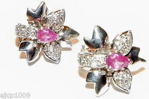 Le Vian 18K WHITE GOLD Pink Sapphire Diamond Flower Earrings, Omega+post, 14.3 g