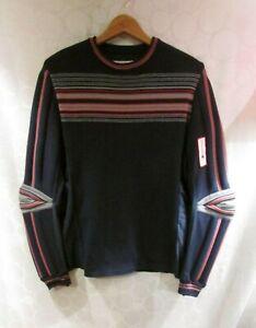 SPYDER Ski Apparel Racing Sweater Navy Blue Wool Padded Elbows M/L
