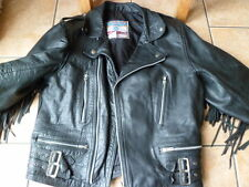 Vintage leather biker jacket-SIZE 40-MEDIUM-TASSELS-M-FRINGES-PADDED SHOULDERS