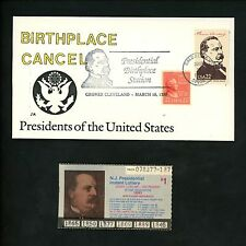 US Cover Presidential Birthplace Cancel Ranto Cachet G Cleveland Caldwell NJ