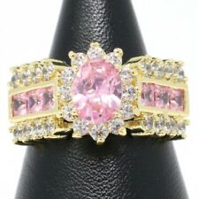 Gorgeous Oval Pink Sapphire Statement Ring Women Jewelry 14K Yellow Gold Plated