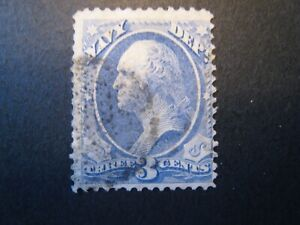 1873 US S# O37 3c ultra, Navy, hard paper Official Stamp Used