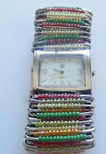 Woman's Watch-safety pins-yellow pink green beads-square face-stretchy