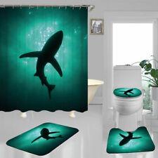 Sea Shark Shadow Shower Curtain Bath Mat Toilet Cover Rug Bathroom Decor