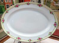 """ANTIQUE NIPPON PINK ROSES WITH YELLOW BAND 11 7/8"""" OVAL PLATTER 1891-1921"""