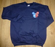 MICKEY MOUSE-Sweatshirt-Size MEDIUM-Navy Blue-NEW-Embroidered-Stars & Stripes