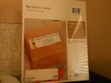"HP Address Labels for inkjet & laser printers, 1 1/3 x 4"",White,100 Sheets, NEW"
