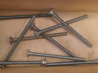 "Carriage Bolts (10 pcs) 1/4-20 X 4"" Zinc Plated 307A Coarse Thread"
