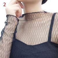 Women Hollow Mesh Net T-Shirt Long Sleeve Tee Tops Transparent Slim Blouse ME