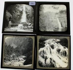 4x Magic Lantern Photo Slides - Victorians by Waterfalls