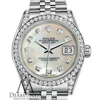 Ladies Rolex Datejust 31mm Steel White MOP Mother Of Pearl Diamond Dial Watch