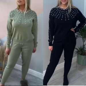 UK New Women Ladies Knit Pearl Detailed Tracksuit Set 2Pcs Lounge Wear