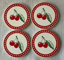 4 Retro Ceramic Round Cherry Coasters with Gingham Border