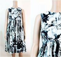 ex Coast Dress Monochrome Floral Una Print Occasion Dress
