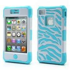 Zebra Silicone Hybrid Case Cover for iPhone 4S 4