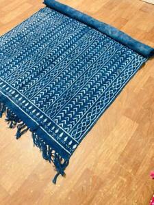 Beautiful Indigo Blue Floral Carpet Yoga Mat Room Decorative Cotton Woven Throw