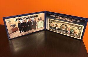 Living Presidents $2 Colorized Bank Note Merrick Mint Obama Bush Clinton Carter