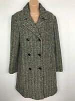 WOMENS VERNISSAGE BLACK & WHITE HERRINGBONE COAT JACKET COLLAR SIZE UK 12