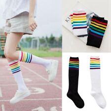 Fashion Women Thigh High Cotton Socks Over Knee Rainbow Stripe Football Stocking