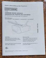 Used Owner's Manual for Craftsman ½ Hp Garage Door Opener (2001)
