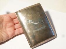 More details for sterling silver belper gentleman's cigar case 1913 fine engraved horse hunting