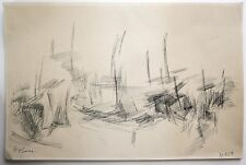 Style of Camille Hilaire (1916-2004) Abstract ink landscape. Modern French