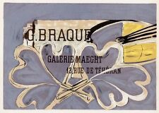 "BRAQUE Antique Galerie Maeght Exhibition Poster ""Art Gallery"" SIGNED Framed COA"
