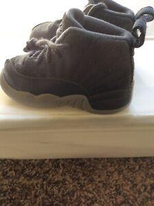 Air Jordan Retro 12 Grey Suede Toddler Hi Top Shoes Size 6C