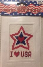 Patriotic Counted Cross Stitch Mini Kit I Love USA Red White Blue Star Heart