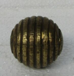 Vintage Old Collectible Wooden Hand Carved Brass Fitted Massage Ball
