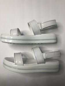 Michael Kors 10 Peggy White Patent Leather Hook & Loop Sandals Sz Us 10