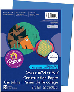 "SunWorks 7403 Construction Paper, 9"" x 12"", 50 Sheets/Pack, Blue"