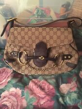 Authentic gucci horsebit monogram tote/shoulder chain flap bag. horsey chic!