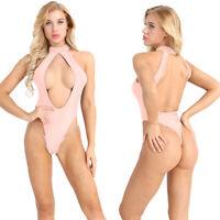 Women Open Cup Bikini Monokini Crotchless Bodysuit Leotard Swimwear Bathing Suit