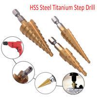 3pcs Set HSS Step Cone Drill Titanium Coated Hole Cutter Bit Set 3-12 4-12/20mm