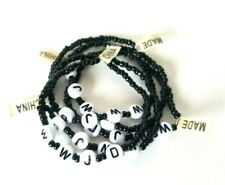 5 Black Beaded WWJD~What Would Jesus Do~ Religious Bracelet Stretch Elastic
