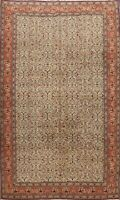Floral Semi Antique Ivory Anatolian Turkish Area Rug Hand-knotted Carpet 7x10 ft