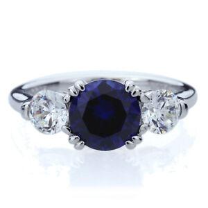 Women 8MM Silver 2ct Blue Sapphire 3 Stone Wedding Anniversary Ring Band