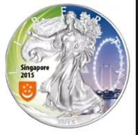 1 oz silver .999 coin - 2015 American Eagle - coloured - Singapore