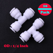 "10x 1/4""Union Tee Quick Connect Coupler 3way Fit RO Water Reverse Osmosis Filter"