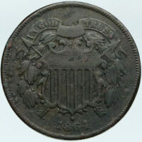 1864 UNITED STATES 1st IN GOD WE TRUST on US Coin after CIVIL WAR 2 Cents i88293