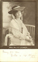 early  1900s  postcard  titled : miss millie legarde