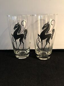 Vintage Prancing Black Stallion Horse Glasses Ice Tea Soda Glass Set Of 2