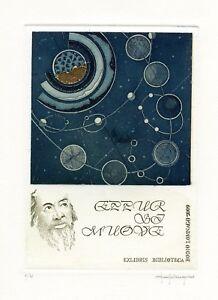 Paolo Rovegno Italy, Original,Limited Edition Etching Ex libris, Galileo Galilei
