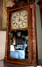 Rare Antique Riley Whiting Wood Works Weight Driven Column Splat Clock